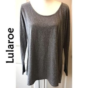 Lularoe Heathered Gray LS Scoop NeckTop Plus 3X